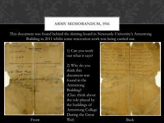 Army Memorandum, 1916