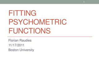Fitting Psychometric Functions