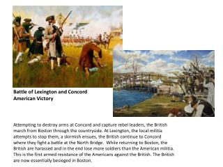 Battle of Lexington and Concord  American Victory