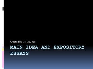 Main Idea and Expository Essays