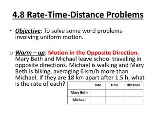 4.8 Rate-Time-Distance Problems