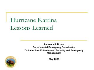 Hurricane Katrina Lessons Learned