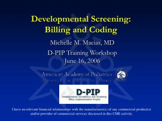 Developmental Screening: Billing and Coding