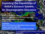 Exploiting the Capabilities of  NASAs Giovanni System  for Oceanographic Education