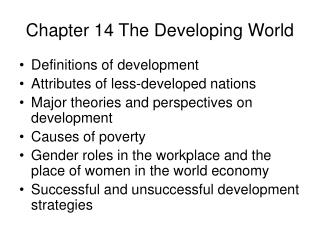 Chapter 14 The Developing World
