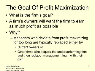 The Goal Of Profit Maximization