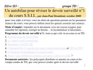 Un autobilan pour r viser le devoir surveill  n 1 du cours S.S.I.I., par Jean-Paul Stromboni, octobre 2008