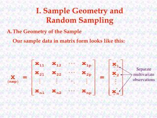 I. Sample Geometry and Random Sampling