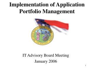 Implementation of Application Portfolio Management