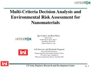 Multi-Criteria Decision Analysis and  Environmental Risk Assessment for Nanomaterials