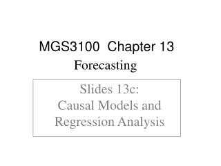 Slides 13c:  Causal Models and Regression Analysis