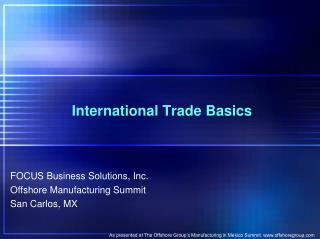 Mexico Customs International Trade Basics