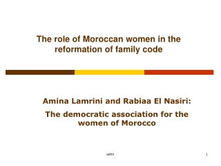 The role of Moroccan women in the reformation of family code
