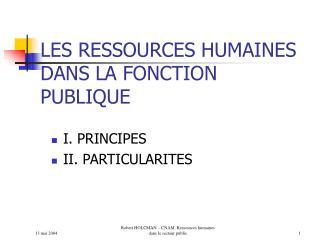 LES RESSOURCES HUMAINES DANS LA FONCTION PUBLIQUE