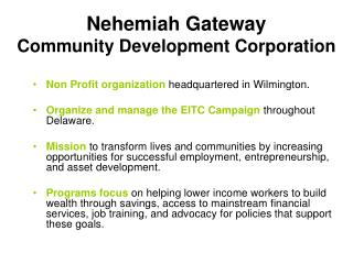 Nehemiah Gateway  Community Development Corporation
