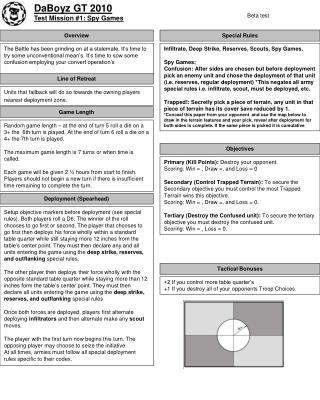 DaBoyz GT 2010 Test Mission 1: Spy Games