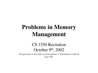 Problems in Memory Management