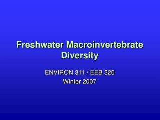 Freshwater Macroinvertebrate Diversity