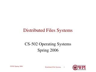 Distributed Files Systems