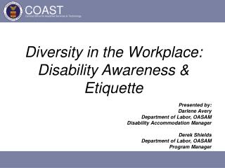 Diversity in the Workplace: Disability Awareness  Etiquette