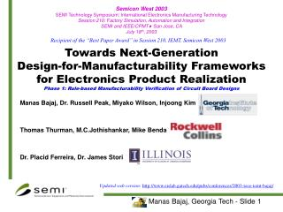 Towards Next-Generation  Design-for-Manufacturability Frameworks for Electronics Product Realization Phase 1: Rule-based