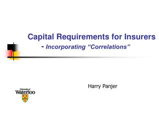 Capital Requirements for Insurers  - Incorporating  Correlations