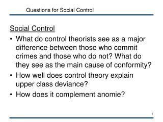 Questions for Social Control