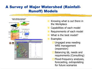 A Survey of Major Watershed Rainfall-Runoff Models