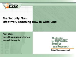The Security Plan: Effectively Teaching How to Write One
