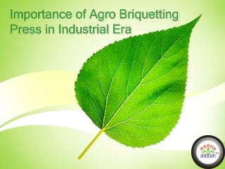 Importance of Agro Briquetting Press in Industrial Era