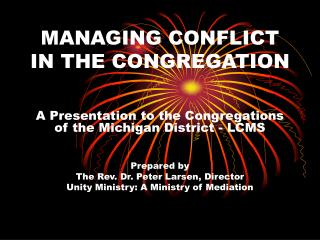 MANAGING CONFLICT IN THE CONGREGATION