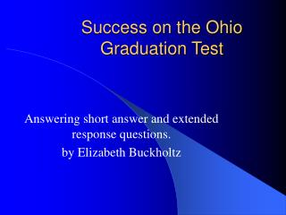 Success on the Ohio Graduation Test