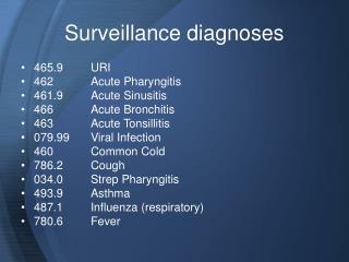 Surveillance diagnoses