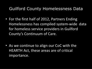 Guilford County Homelessness Data