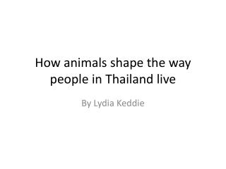 How animals shape the way people in  T hailand live