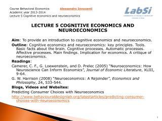 Course Behavioral Economics Alessandro Innocenti  Academic year  2013-2014