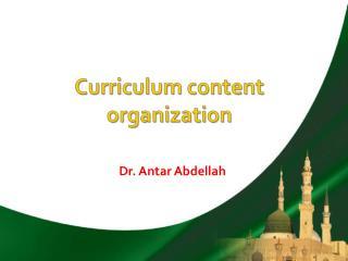 Curriculum content organization