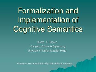 Formalization and Implementation of  Cognitive Semantics