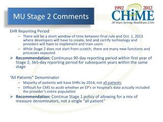 MU Stage 2 Comments