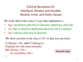 CS2110  Recitation 07.  Interfaces  Iterator and  Iterable . Nested, Inner ,  and static classes
