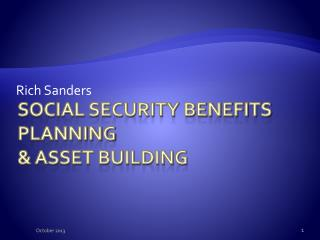 Social Security Benefits Planning & Asset Building