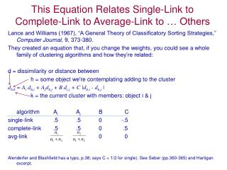 This Equation Relates Single-Link to Complete-Link to Average-Link to … Others