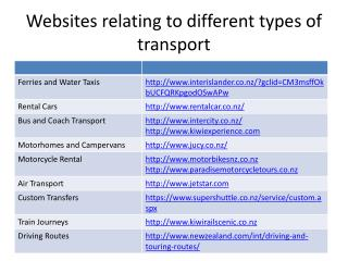 Websites relating to different types of transport
