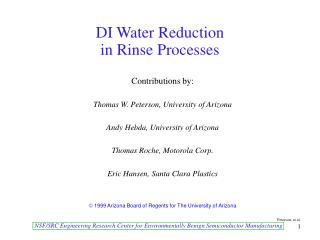 DI Water Reduction  in Rinse Processes