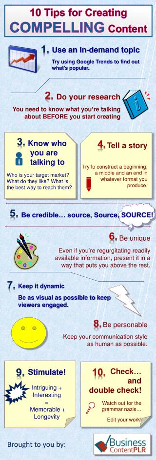 10 Tips for Creating  COMPELLING Content