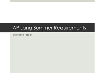 AP Lang Summer Requirements