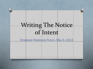 Writing The Notice of Intent