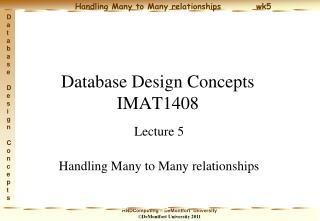 Database Design Concepts IMAT1408