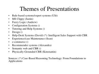 Themes of Presentations