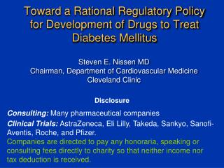 Toward a Rational Regulatory Policy for Development of Drugs to Treat Diabetes Mellitus